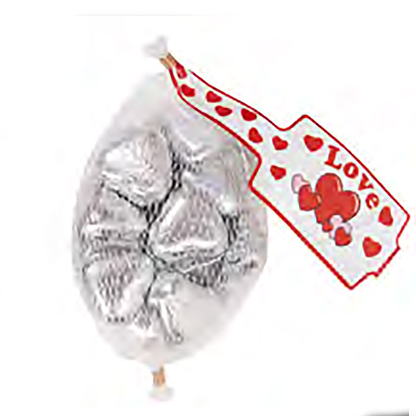 Siver Milk Chocolate Hearts In Mesh Bags