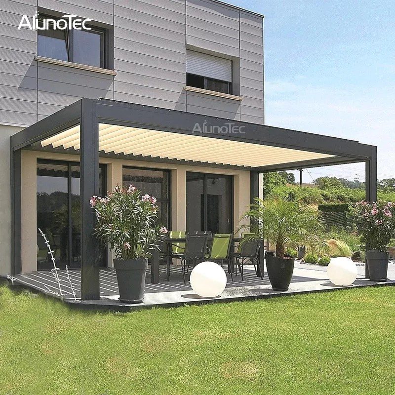 automatic opening closing awning metal