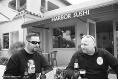 Danny Underwood (L) and Tim Devantier (R) having a beer and thinking about ordering macaroni and cheese.