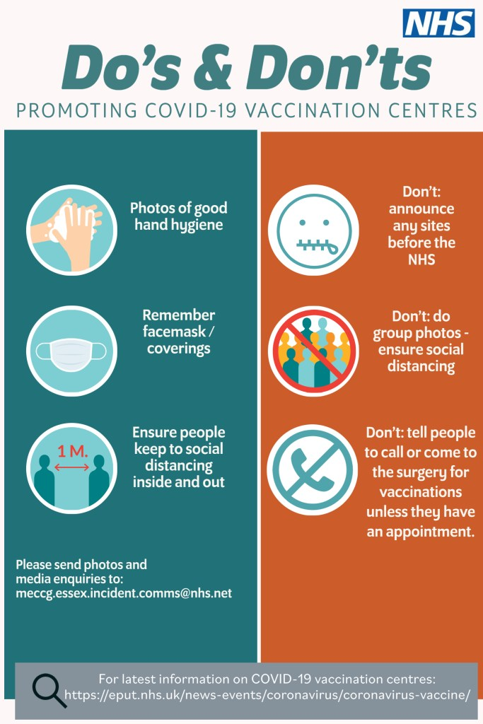do's and don'ts Covid vaccination centre promo image