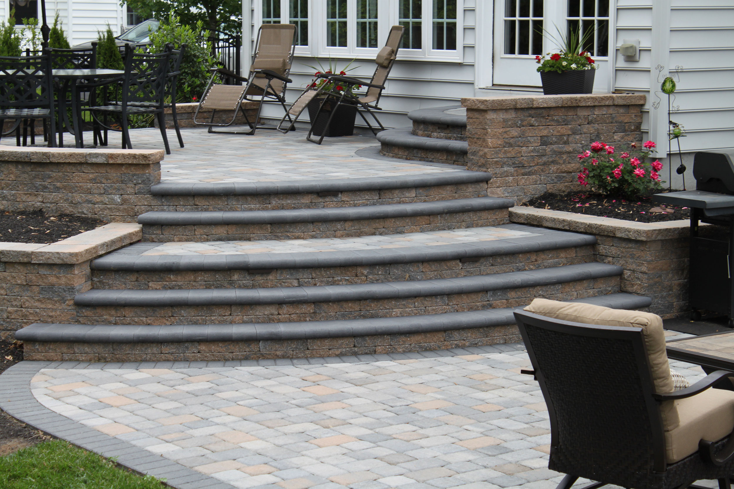 Doylestown Raised Patio | R&R Caddick Landscape Design on Backyard Patio Steps id=67426