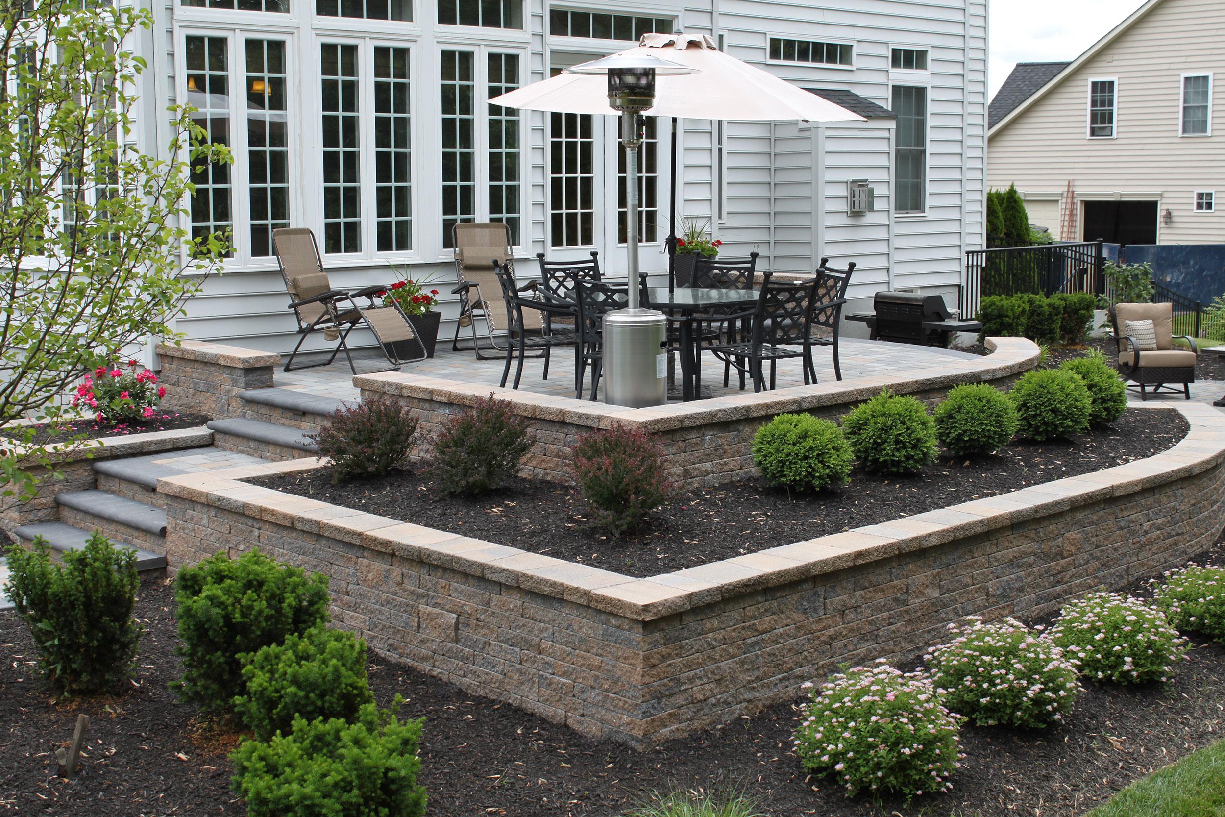 Furlong Pa Small Patio   R&R Caddick Landscape Design on Patio Block Wall Ideas id=82720