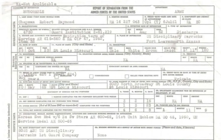 Korean War era discharge of Robert Chapman Sr.