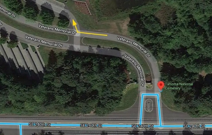 Map to assembly area at Tahoma National Cemetery for the committal service, showing the right turn after entering the gate