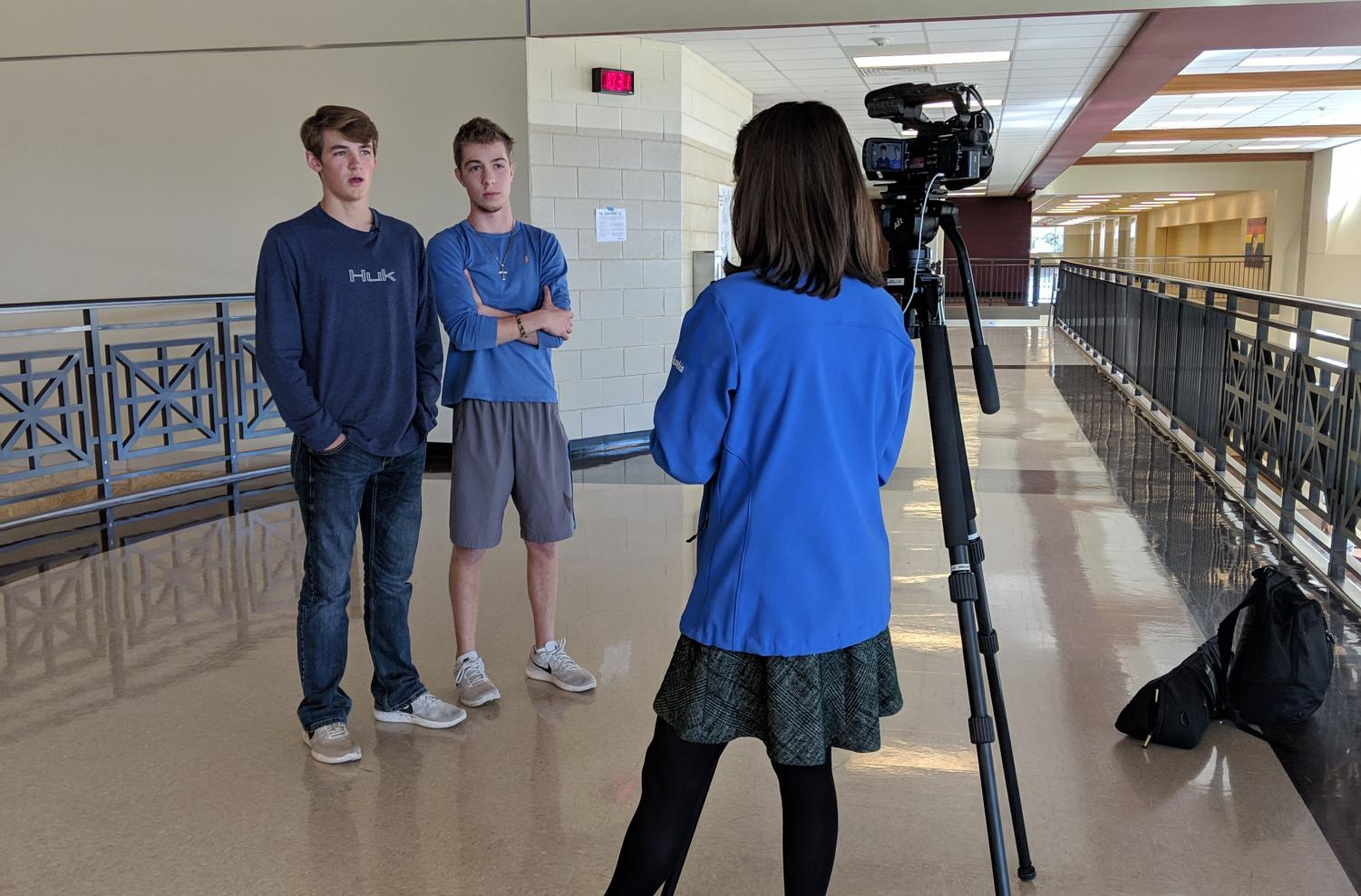 Left is Tyler Ludemann, Right is Nick Goodrum being interviewed.
