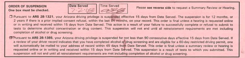 Admin Per Se Order of Suspension Box