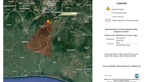 Maga alerta por posibles daños a cultivos de la ceniza del volcán Pacaya