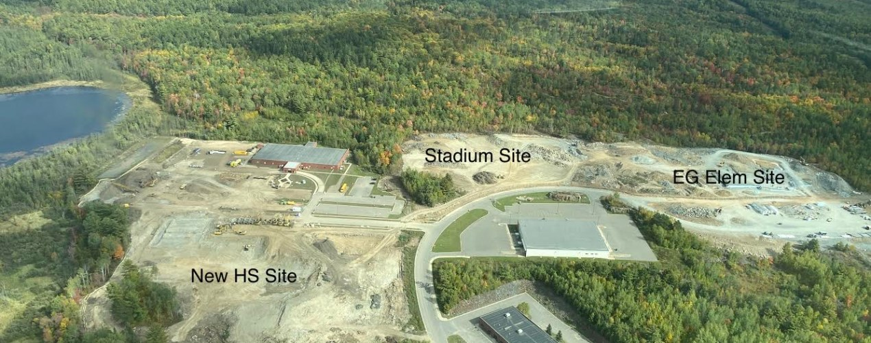 Aerial view of the high school, elementary and stadium construction sites