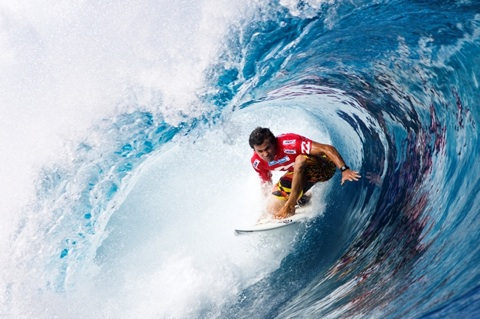 Dean Morrison (AUS), 28, punctuated an exciting opening day of competition at the Billabong Pro Tahiti pres. by Air Tahiti Nui, collecting the highest heat total of the day in his Round 1 win over 2009 ASP World Tour rookie Nathaniel Curran (USA), 24. Photo: ASP/ CI/ SCHOLTZ via GETTY IMAGES