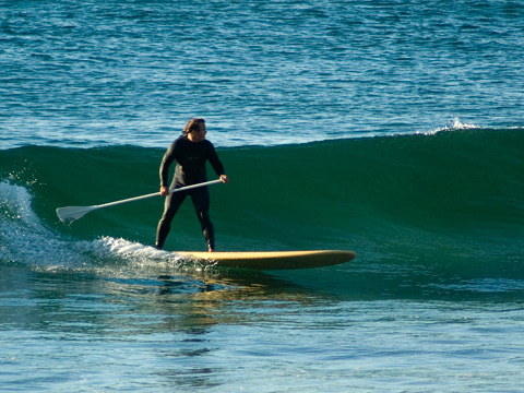 SUPster slides into section at Manly this am.