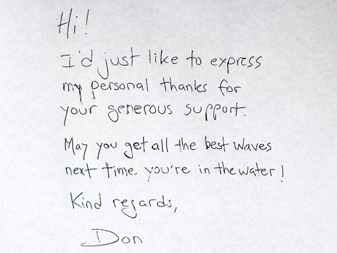 A thank you note from Don