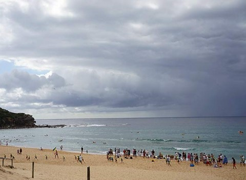 Nippers scramble under threatening sky