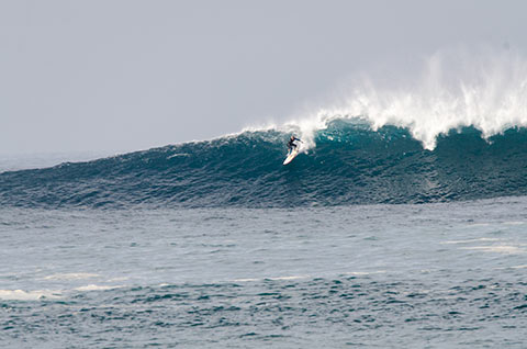 Dropping into another big one at Longy Bombies on Saturday morning
