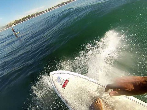 surfing with a gopro at manly fairy bower