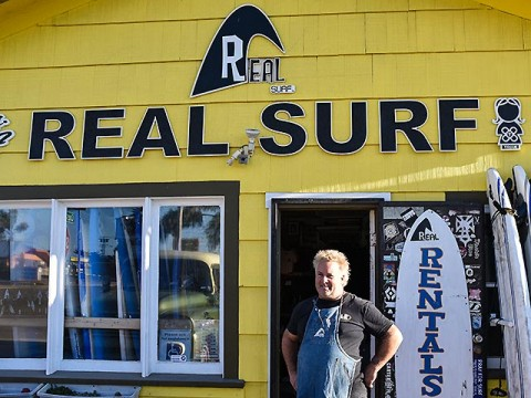 Another Mr. RealSurf! Shawn Ambrose in front of his Oceanside shop