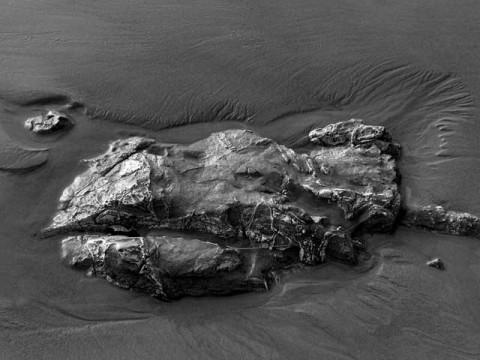 Rock in the sand at Arroyo Burro in Santa Barbara