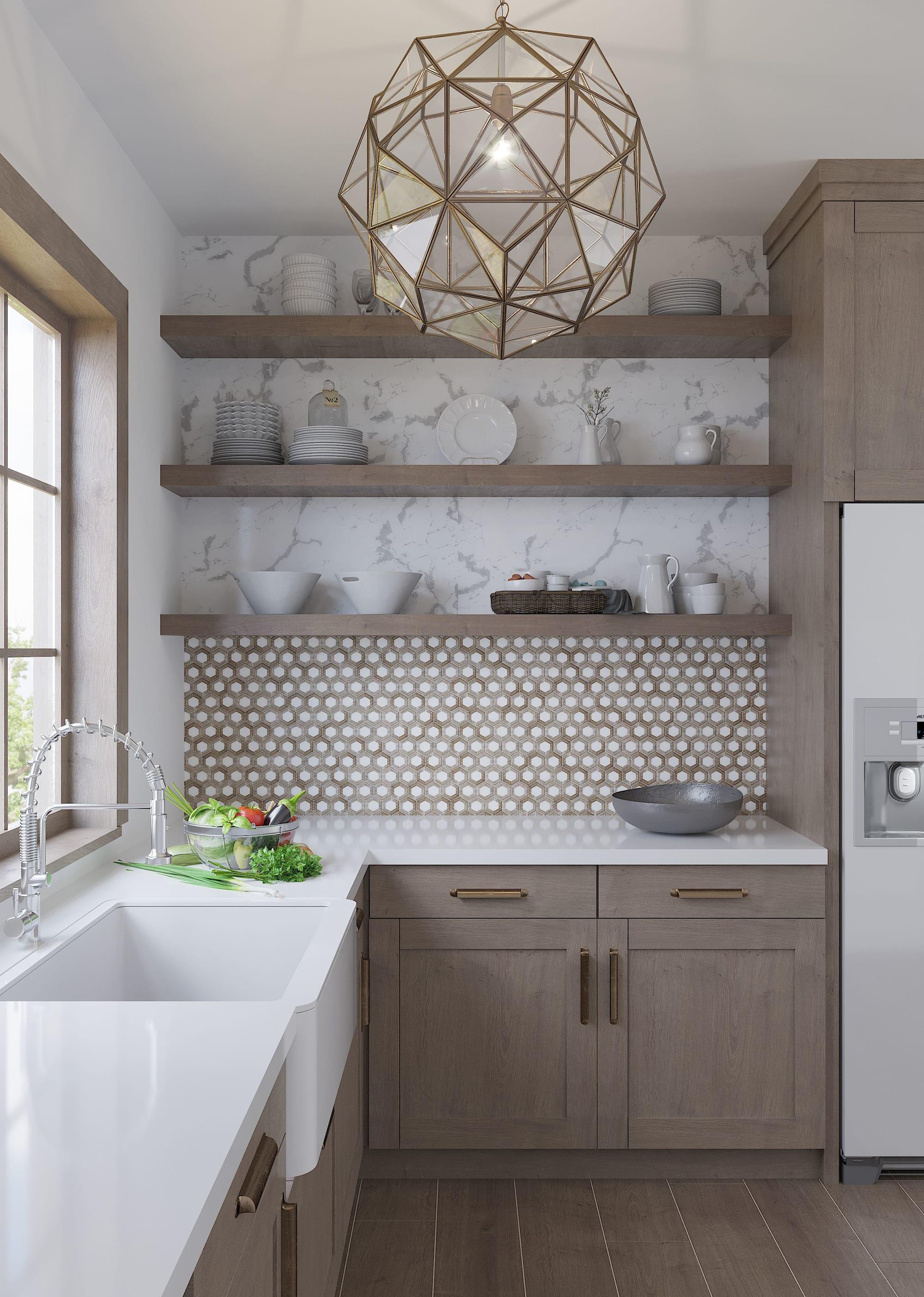 nova hex wooden beige marble tile