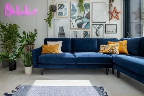 the rebel corner sofa in navy velvet by