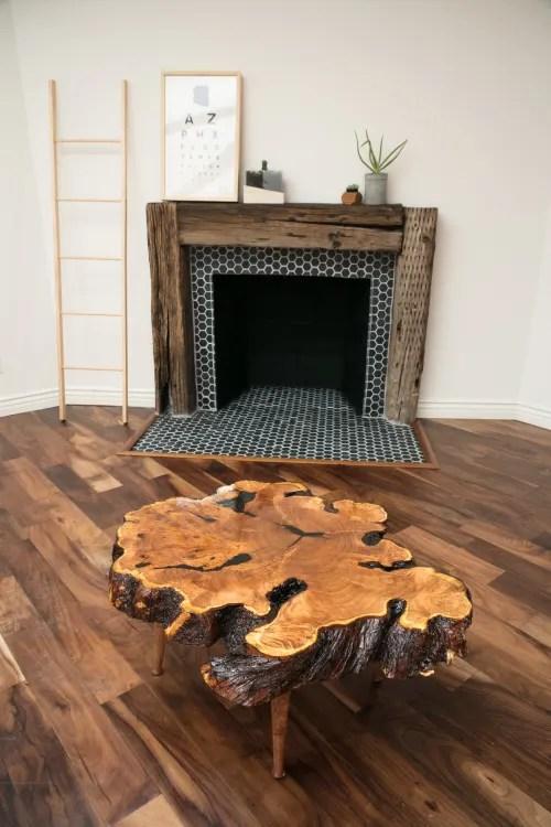 rustic mesquite live edge coffee table