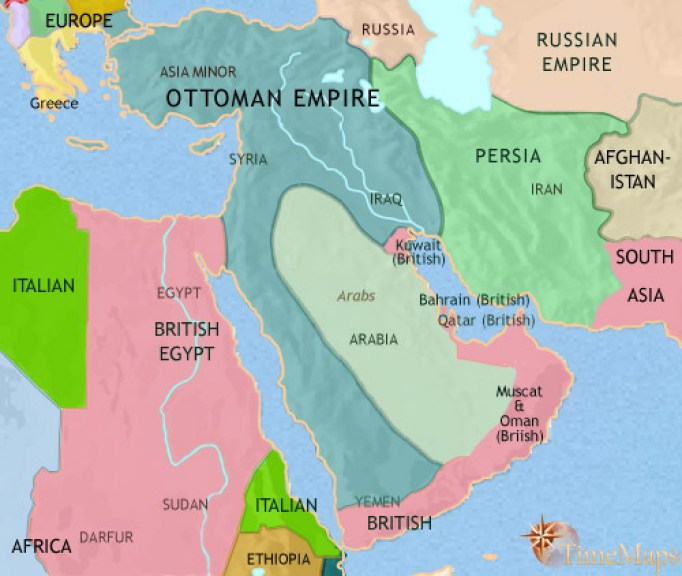 map of middle east 1914
