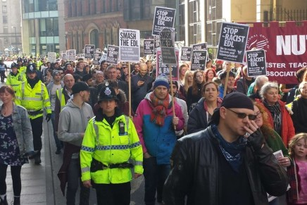 EDL outnumbered by anti-fascists in Manchester