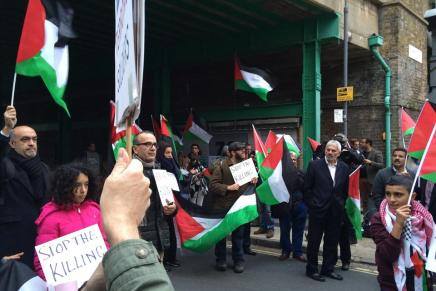 Solidarity demo counters Zionist mobilisation at London Palestinian Mission