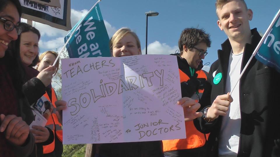Card from John Roan teachers on strike to QEH Junior Doctors on strike (Photo: Tony Aldis)