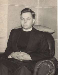 Bartley at home in 1961, in priest clothing