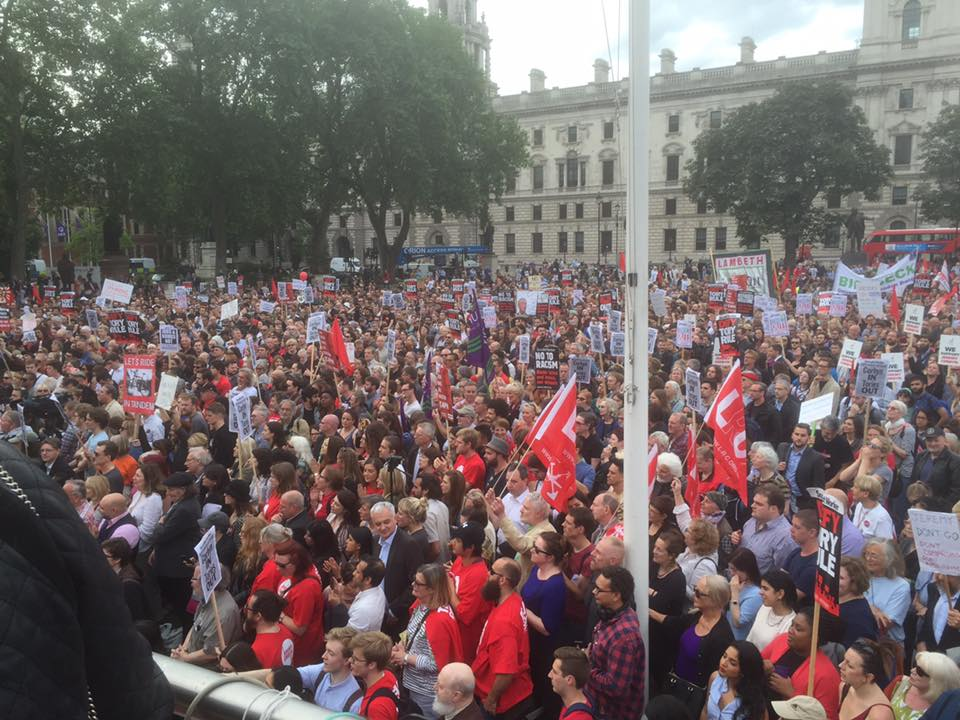 Keep Corbyn Rally Parliament square 26th June 2016