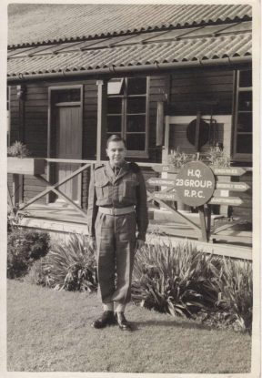 Bartley in 1958 in uniform at Saighton Camp