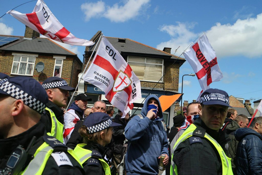 EDL members march in Walthamstow in 2015 (Photo: Steve Eason)