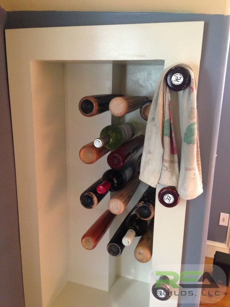 A picture of a custom built wine rack to show craftsmanship.