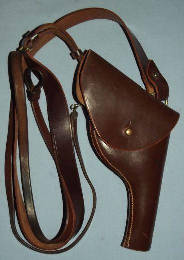 Vintage Police Brown Leather Revolver Holster and Shoulder Strap