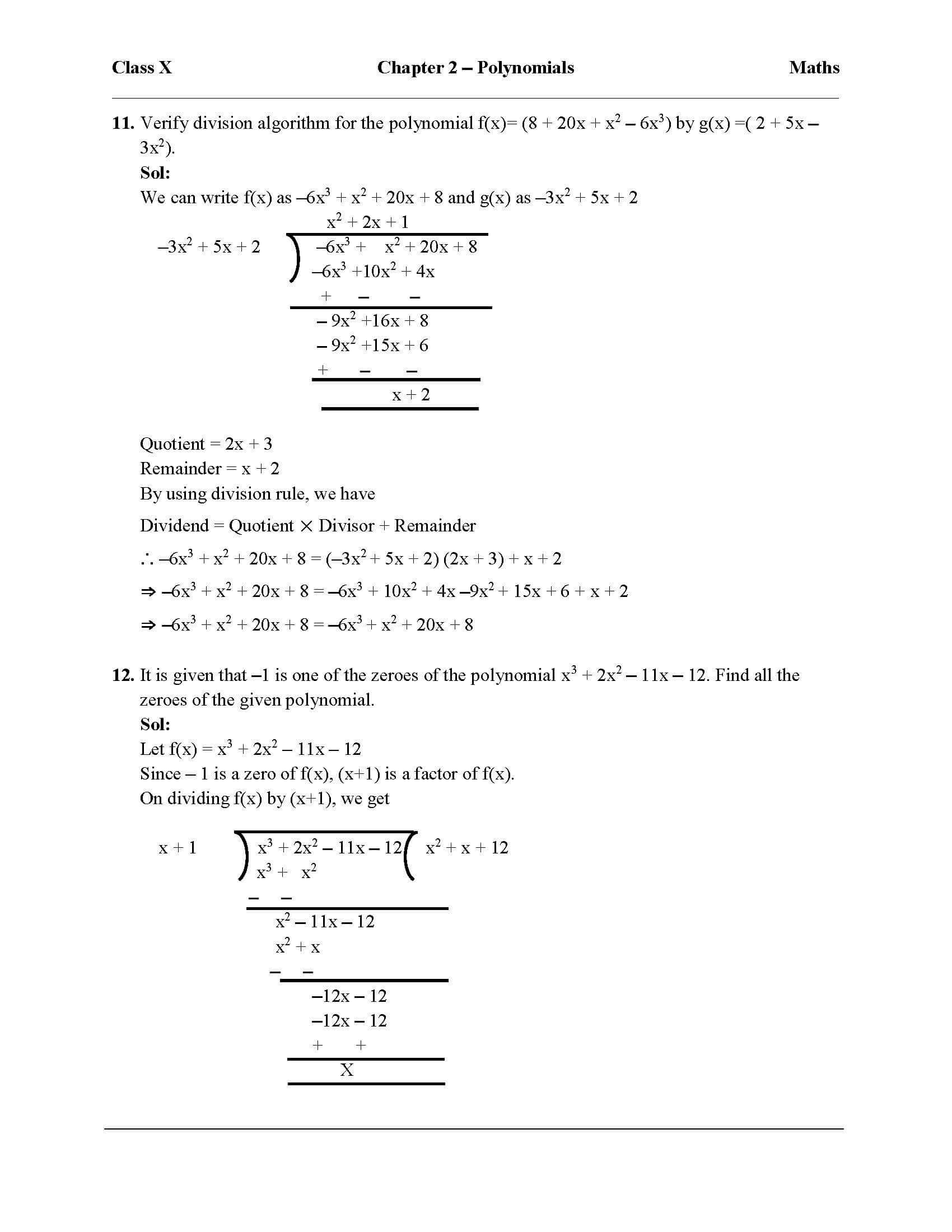 Worksheet Long Division Of Polynomials