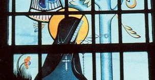 Stained glass image of St Philippine Duchesne from St Charles Mo.