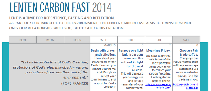Carbon Fast for Lent 2014