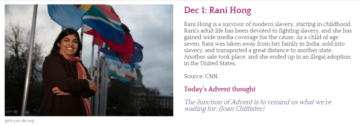 Screen shot of 1 December entry for the Advent calendar featuring Rani Hong