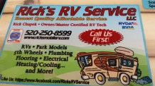 """Ad on the restaurant table: """"Rick's RV Service"""""""