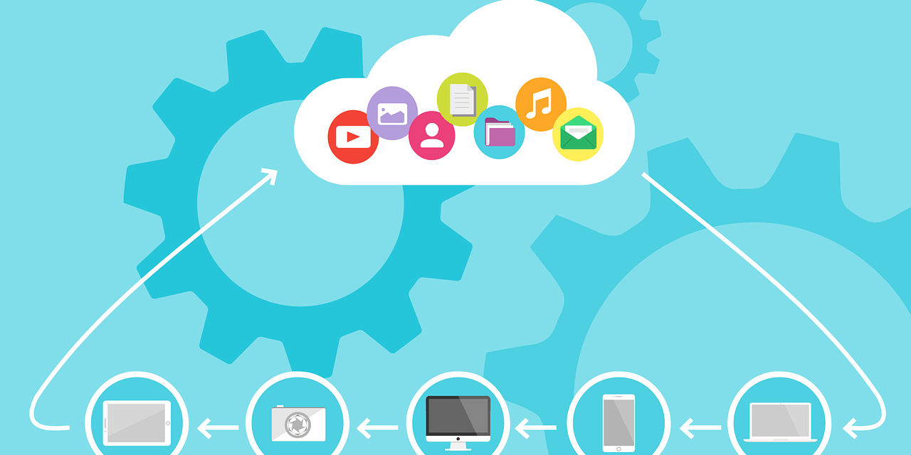 Graphic showing options for data that can be stored on the cloud, including pictures, music, emails, contacts, etc.