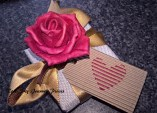 Journey box, created by Rose-Sky Journey Pieces. Showing the gift box, hand-tied ribbon, fabric flower, and hand decorated gift tag. The ribbon colour, the flower, and the message on the gift tag can all be personalised. Photgraphy by Rose-Sky Journey Pieces, copyright 2016.