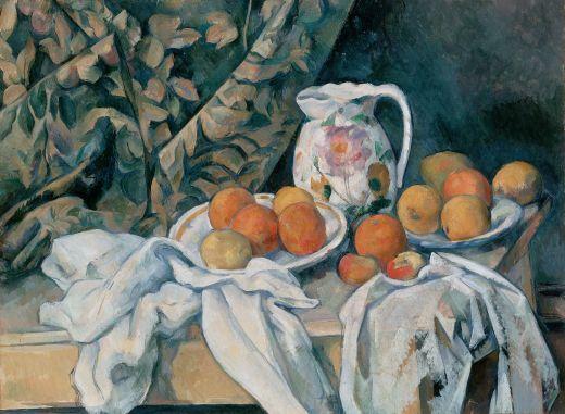 Still life with curtain 1895. Oil on canvas. Paul Cezanne.