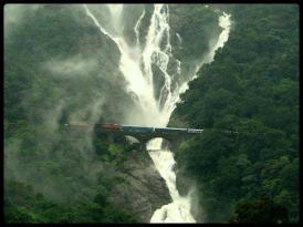 Train over Dudhsagar Waterfalls