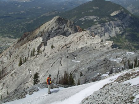 Crest of Turtle Mountain, site of the 1903 Frank Slide Crowsnest Pass, Alberta, Canada