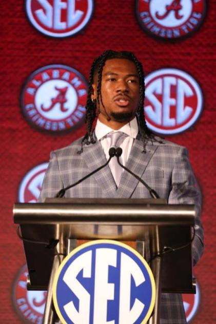 Alabama wide receiver John Metchie III takes questions at SEC Media Days. (Jimmie Mitchell / SEC)