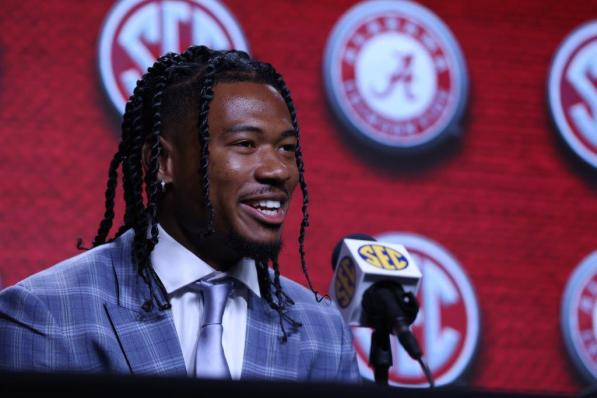 Alabama wide receiver John Metchie III may have been a contender for Best Dressed at SEC Media Days Wednesday, but his top focus is how Alabama looks on the field. (Jimmie Mitchell / SEC)