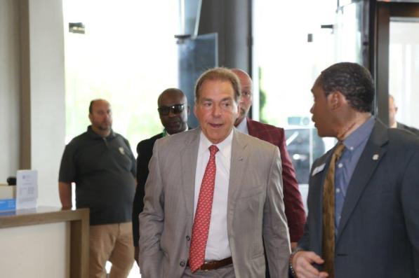 University of Alabama coach Nick Saban arrives during the 2021 SEC Football Media Days. (Jimmie Mitchell / SEC)
