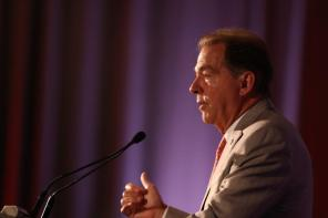 University of Alabama coach Nick Saban speaks to the media during the 2021 SEC Football Media Days at the Wynfrey Hotel in Hoover. (Jimmie Mitchell / SEC)