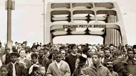 Marchers cross the Edmund Pettus Bridge in Selma in 1965. (contributed)