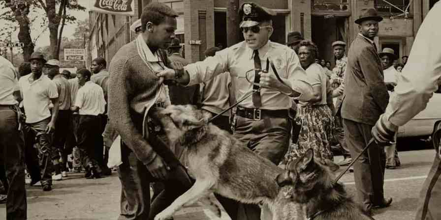 A police dog attacks a young protester in Birmingham in 1963. (contributed)