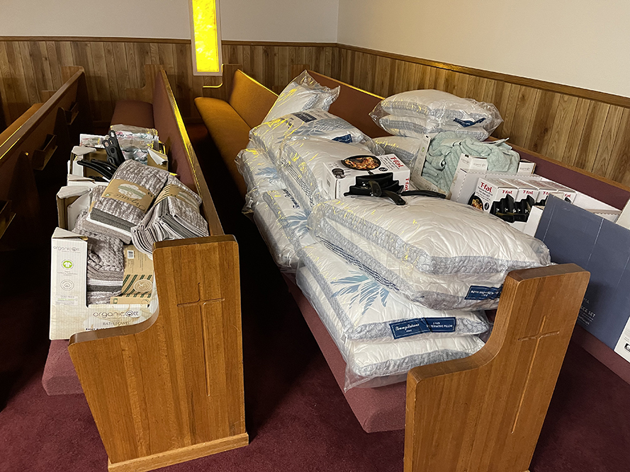 Household items were delivered to Faith Church to assist residents of East Brewton after an EF2 tornado struck the community during Tropical Storm Claudette. (contributed)